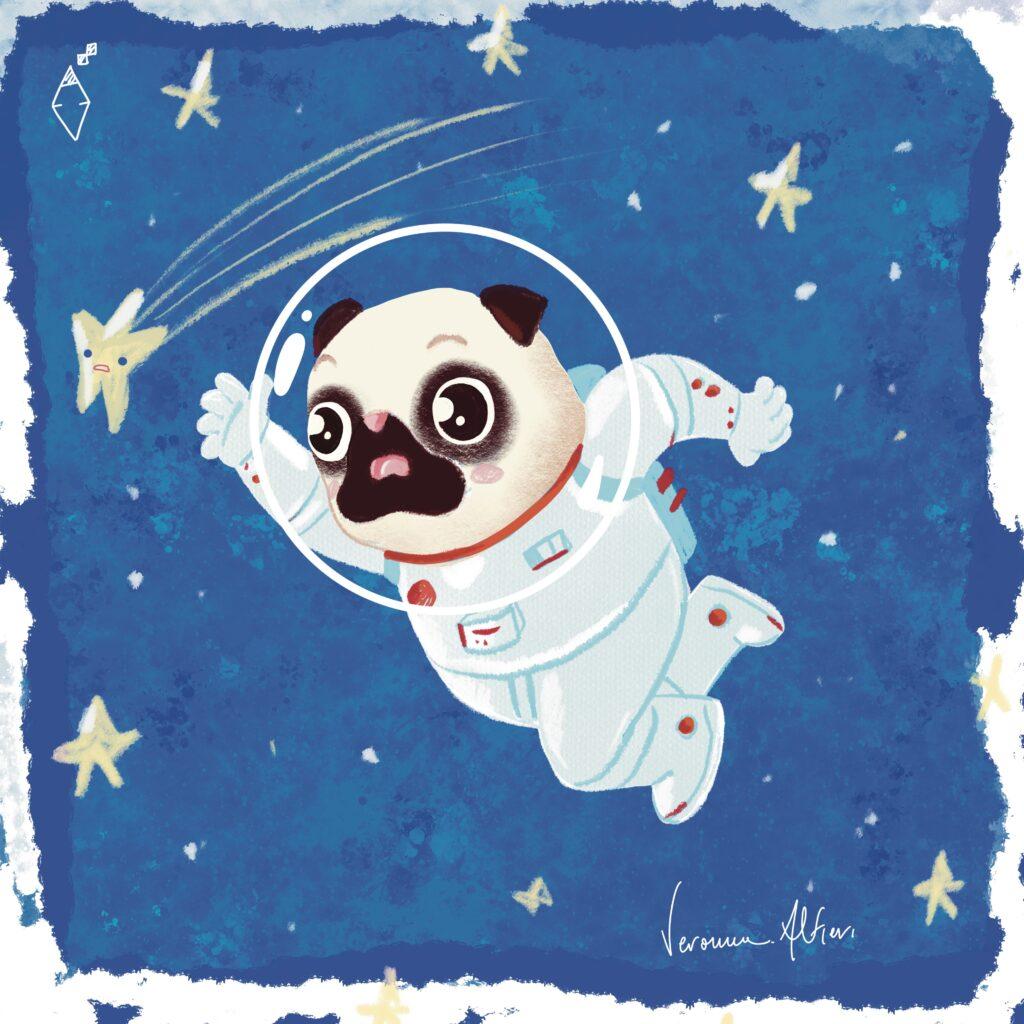 flying pug reaching a star