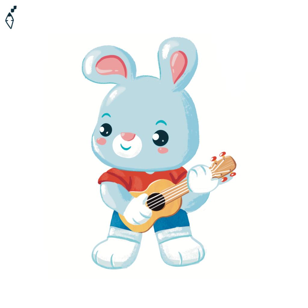 a rabbit play an ukulele