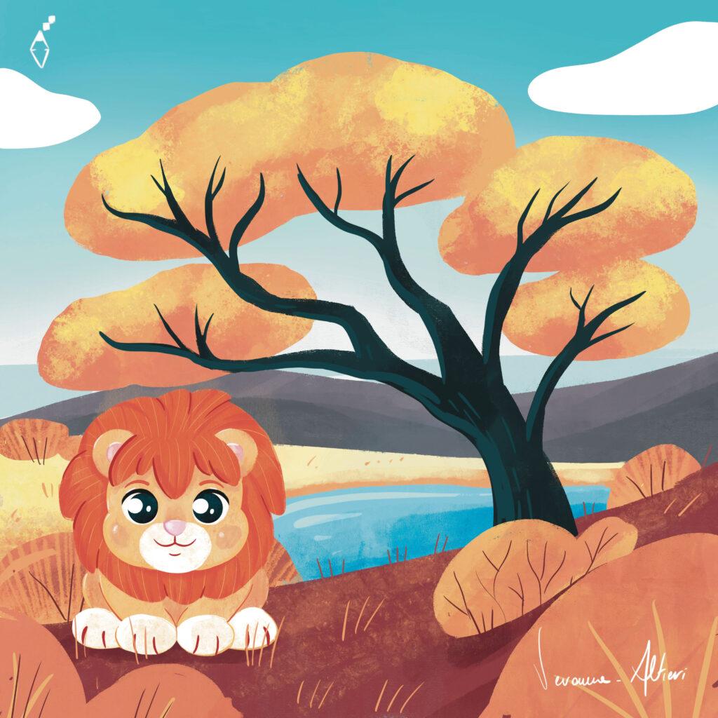 lion savana illustration