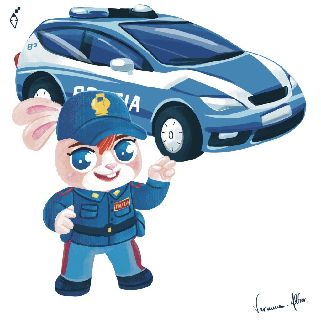 police officer polizia illustration rabbit