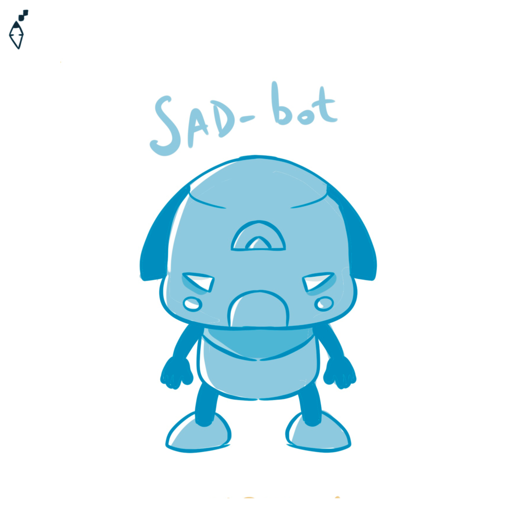 Sad-bot. Also the robot can feel the feelings