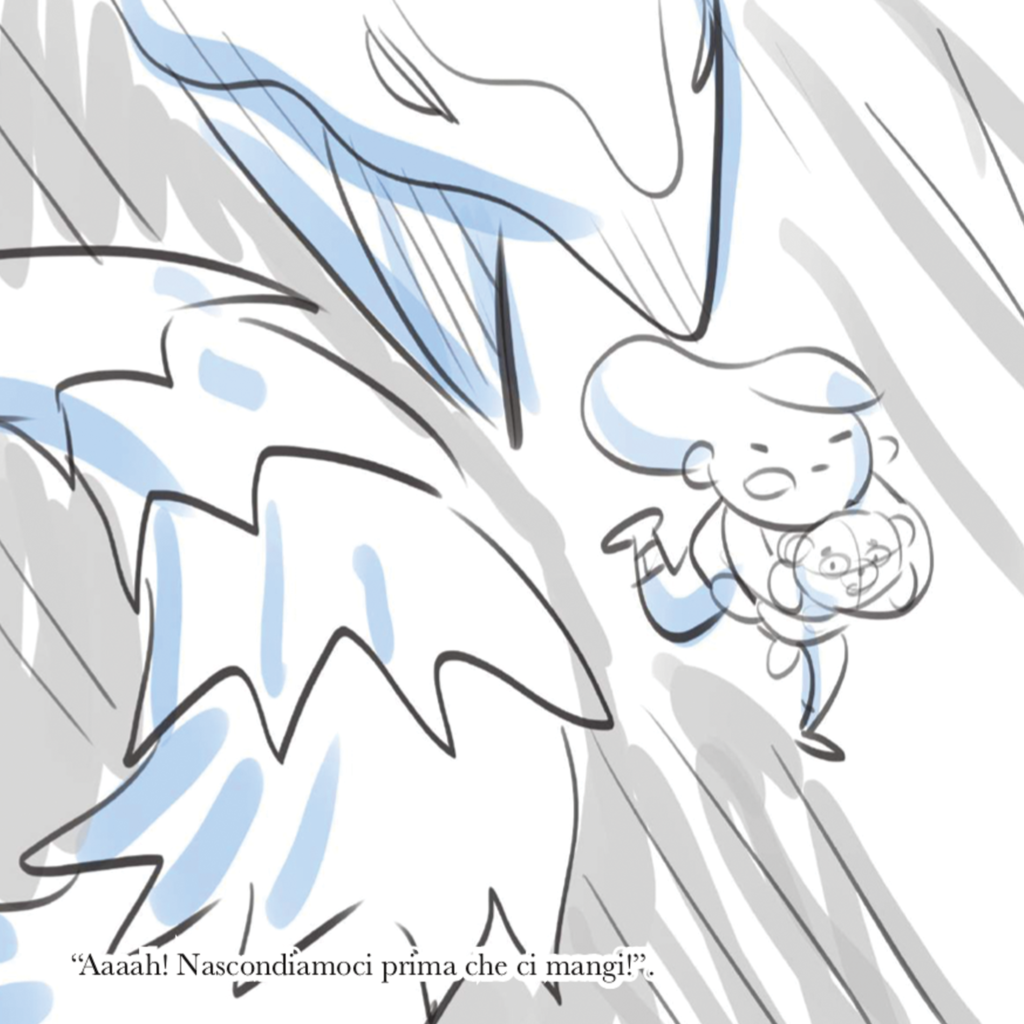 Sketched page from Juno's book. Her run away from her anger