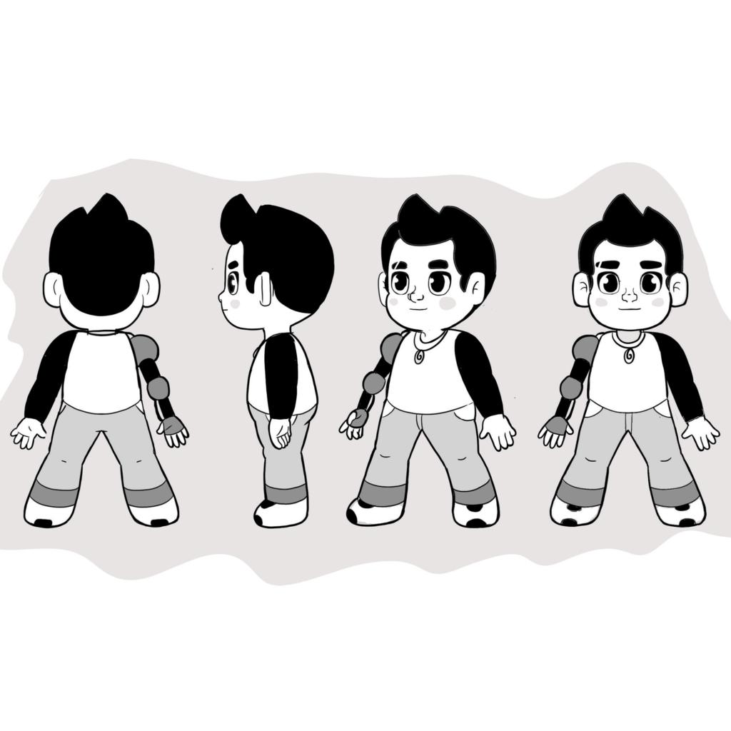 turn around character design kid