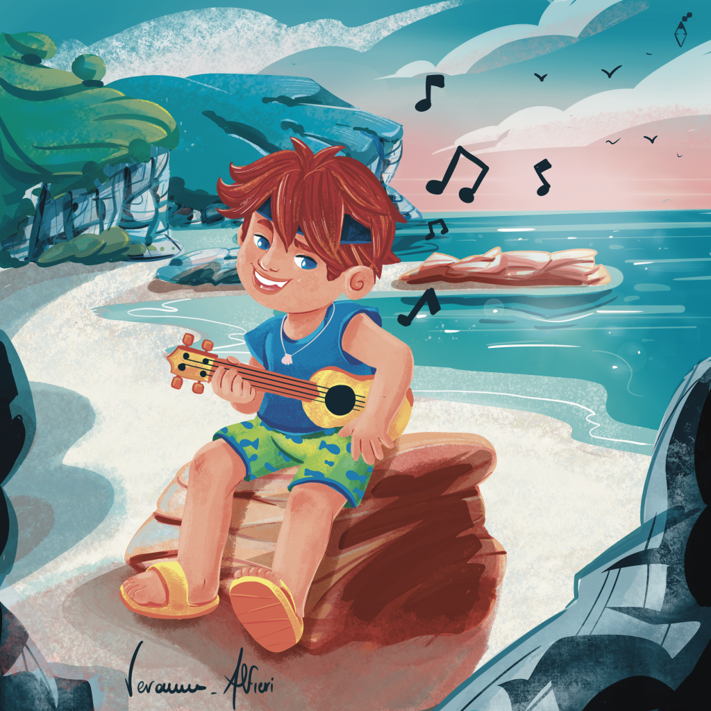kid play ukulele in the beach